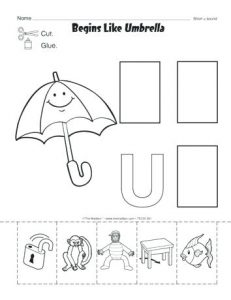 Letter U Cut and Paste Practice Worksheets