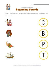 Thanksgiving Matching Beginning Sounds with Pictures Worksheets
