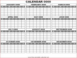 Blank 12 Month Calendar Template Printable on One Page