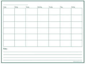 Blank Monthly Calendar with Lines Grid