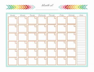 Blank Monthly Calendar with Notes for Printing
