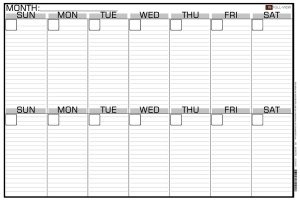 Blank Schedule Calendar by the Month View
