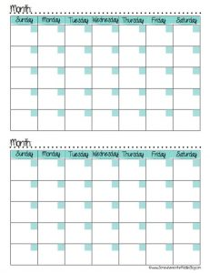 Blank Two 2 Month Calendar Template