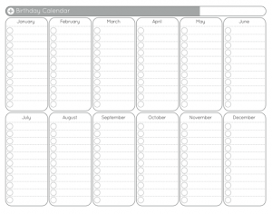 Blank Yearly Calendar by Month