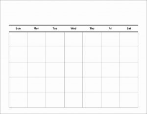 Calendar Template Fillable Monthly Blank