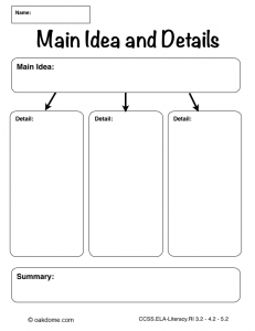 Common Core Main Idea And Details Worksheet