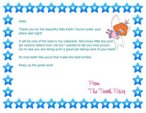 Free Tooth Fairy Letter First Tooth for a Boy