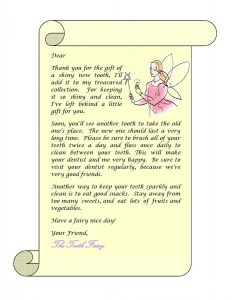 From The Tooth Fairy Letter