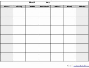 Full Page Free Printable Blank Monthly Calendar Template
