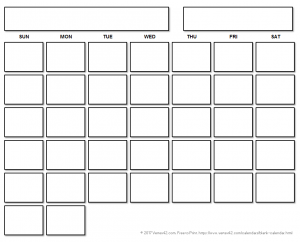 One Month Blank Calendar Print Out