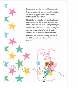 Second Tooth Fairy Letter