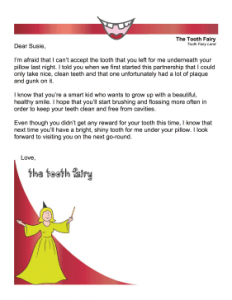 Tooth Fairy Letter Cavity