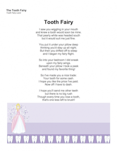 Tooth Fairy Reply Response Letter Poem