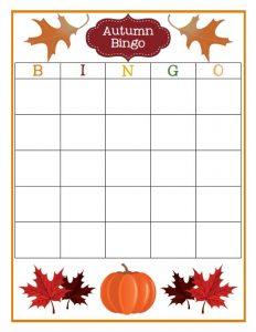 Blank Autumn Bingo