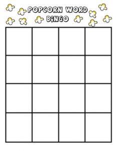 Blank Bingo 4X4