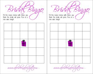 Blank Wedding Bingo Cards