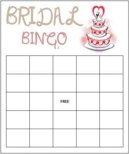 Bridal Bingo Free Template Blank
