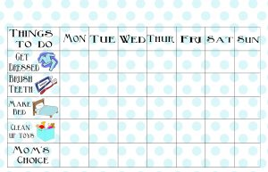 Printable Chore Chart for 7 years Old