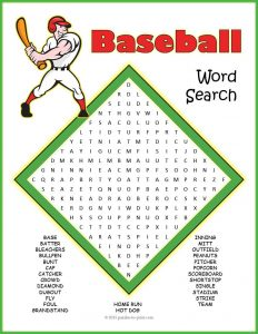 Baseball Word Search for Kids