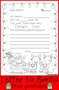 Letter to Santa Claus Template for Kids