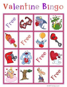 Valentine's Day Bingo Cards Kindergarten