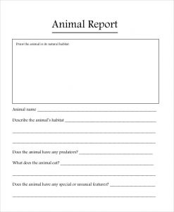 Animal Book Report Template Free