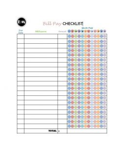 Bill Pay Checklist Free Printable