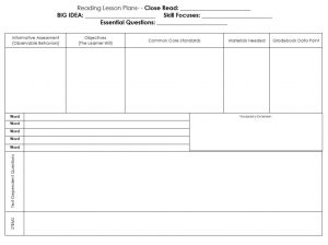 Blank Guided Reading Lesson Plan Template