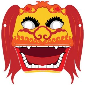 Chinese Lion Mask Template