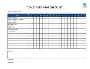 Daily Bathroom Cleaning Checklist Template