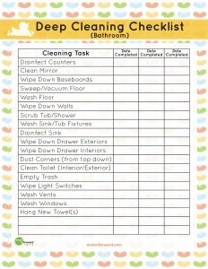 Deep Cleaning Bathroom Checklist