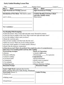Early Guided Reading Lesson Plan Template