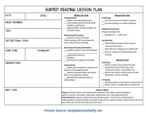 Fountas and Pinnell Guided Reading Lesson Plan Template