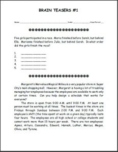 Free Printable Brain Teasers for High School Students