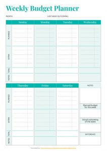 Personal Weekly Budget Planner