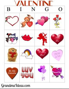 Printable Bingo Cards for Valentine's Day