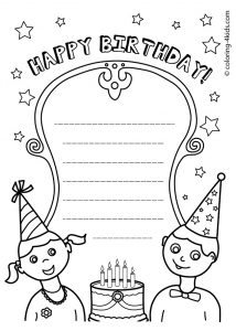Printable Coloring Birthday Cards for Kids