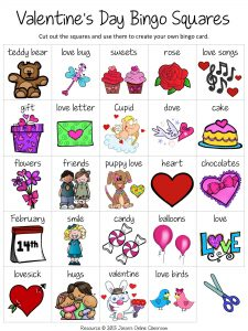 Valentine's Day Bingo Cards for Kindergarten