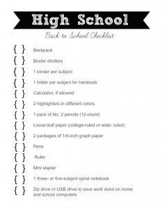 Back to School Checklist for High School Students