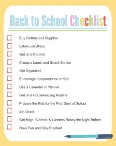Back to School Checklist for Kids
