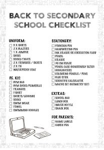 Back to Secondary School Checklist