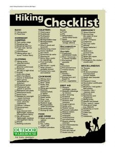 Extended Hiking Checklist