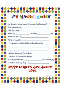 Father's Day Fill in the Blank Printable Picture