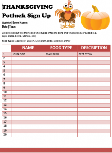 Thanksgiving Potluck Lunch Sign Up Sheet
