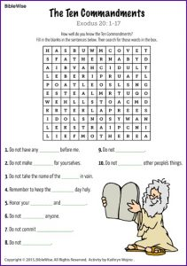 10 Commandments Printable Puzzles
