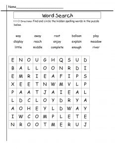 2nd Grade Word Search Worksheets