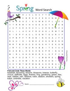 4th grade Word search Spring
