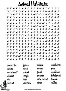 Animal Wordsearch for 3rd Grade