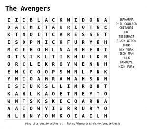 Avengers Word Search