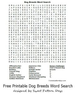 Dog Breed Word Search Worksheet